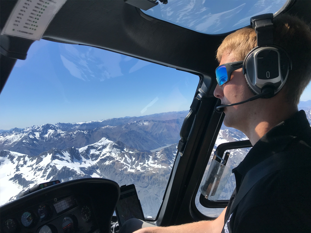 Student learning to fly an AS350